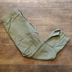 Green Slim Fit Linen Pants